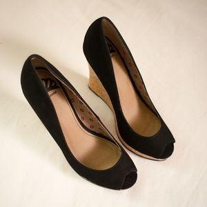 Fergalicious Black Peep Toe Cork Wedge Size 9.5